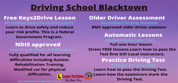 Driving School Blacktown Lesson Types